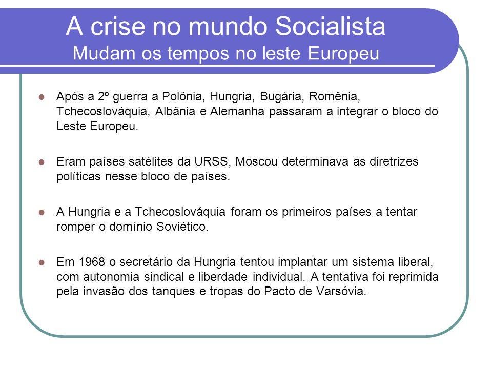 A crise no mundo Socialista Mudam os tempos no leste Europeu
