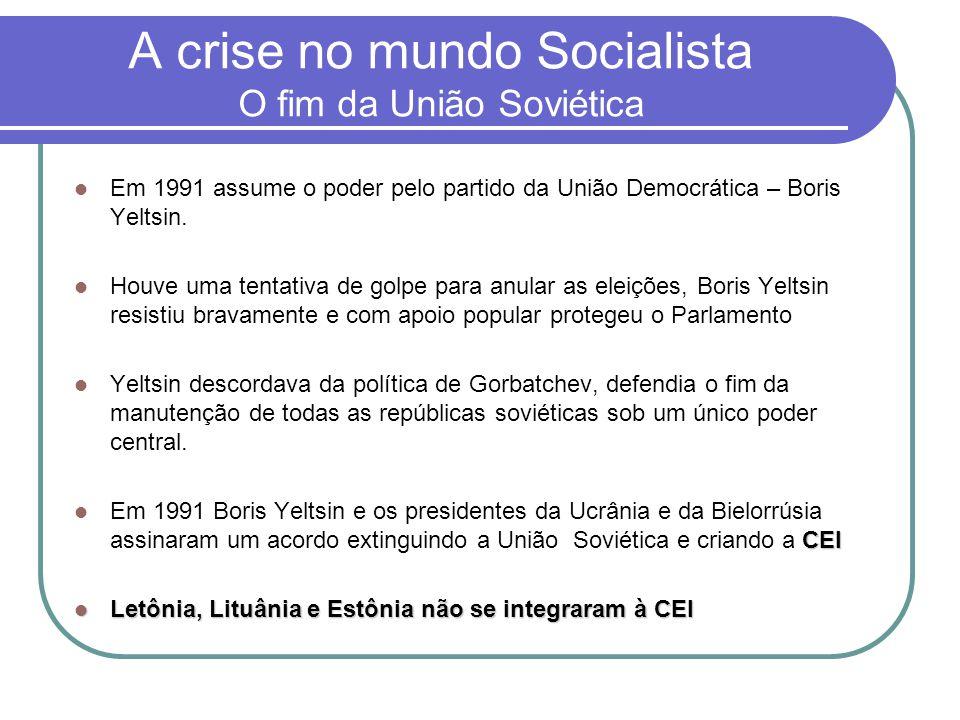 A crise no mundo Socialista O fim da União Soviética