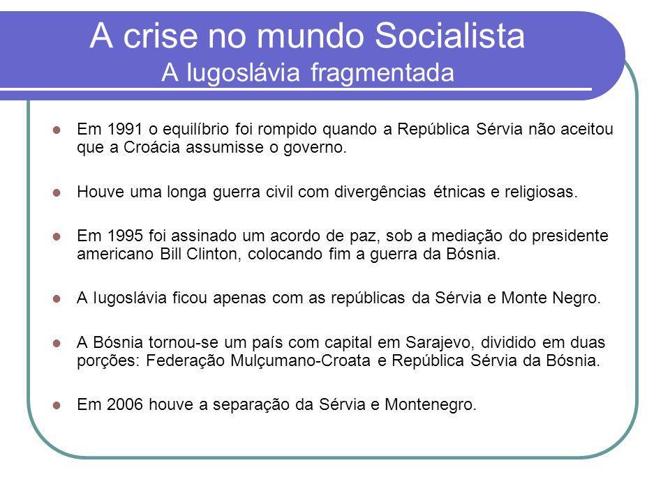 A crise no mundo Socialista A Iugoslávia fragmentada