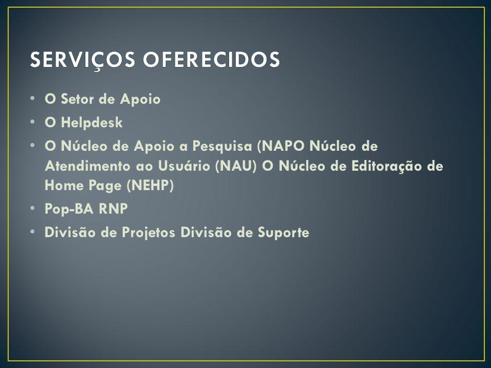 SERVIÇOS OFERECIDOS O Setor de Apoio O Helpdesk