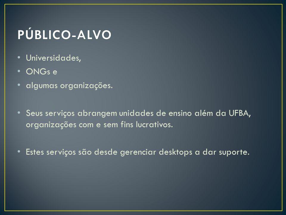 PÚBLICO-ALVO Universidades, ONGs e algumas organizações.