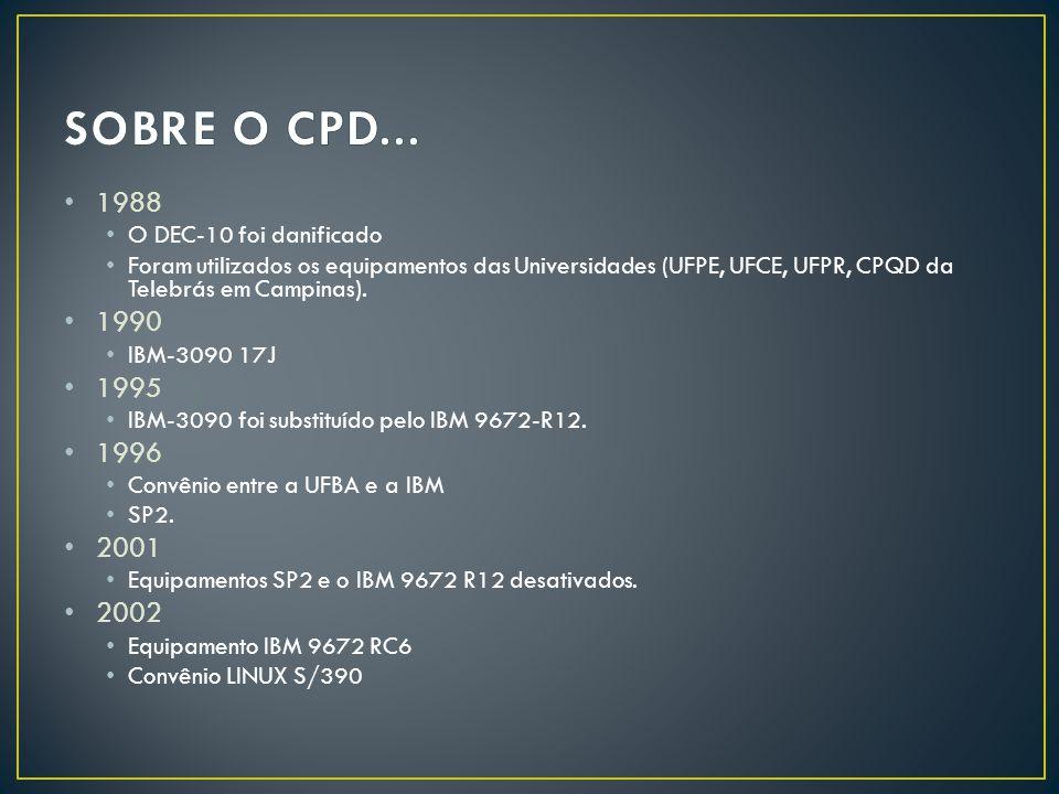 SOBRE O CPD... 1988 1990 1995 1996 2001 2002 O DEC-10 foi danificado