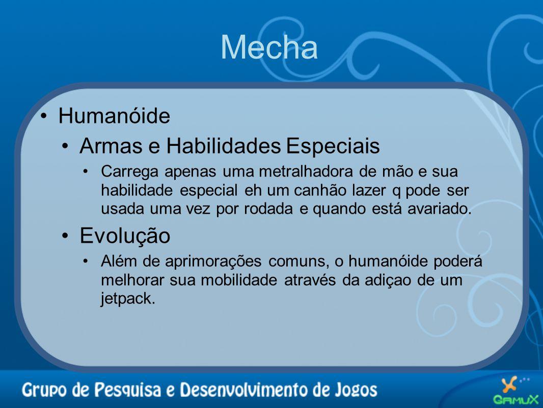 Mecha Humanóide Armas e Habilidades Especiais Evolução