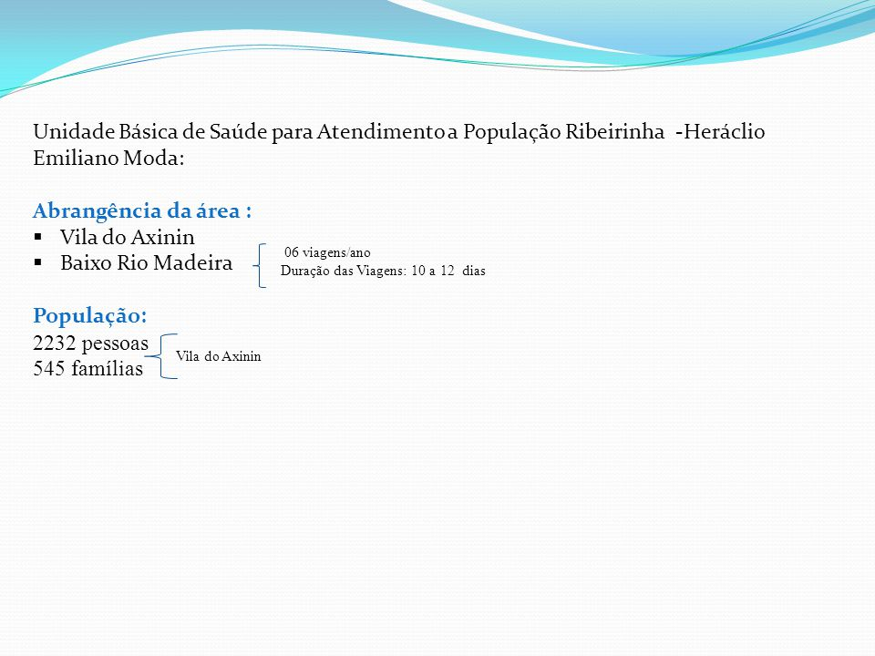 Unidade Básica de Saúde para Atendimento a População Ribeirinha -Heráclio Emiliano Moda:
