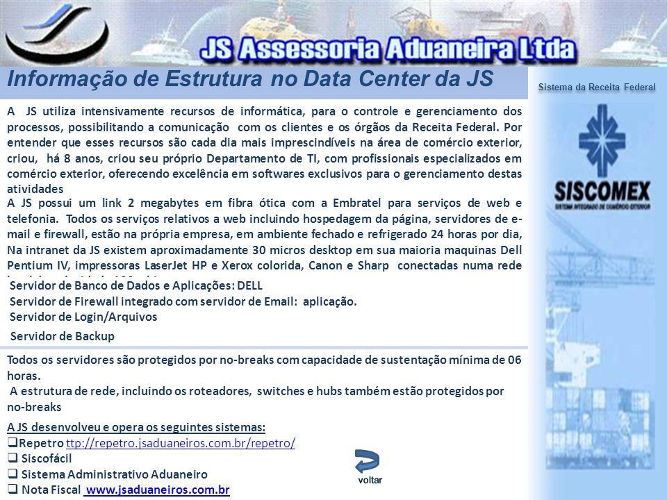 Informação de Estrutura no Data Center da JS