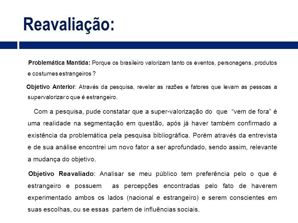 Reavaliação: Problemática Mantida: Porque os brasileiro valorizam tanto os eventos, personagens, produtos e costumes estrangeiros