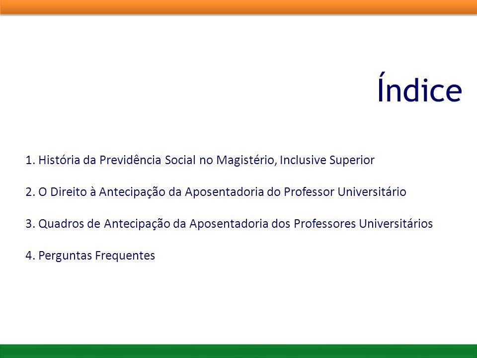 Índice 1. História da Previdência Social no Magistério, Inclusive Superior. 2. O Direito à Antecipação da Aposentadoria do Professor Universitário.