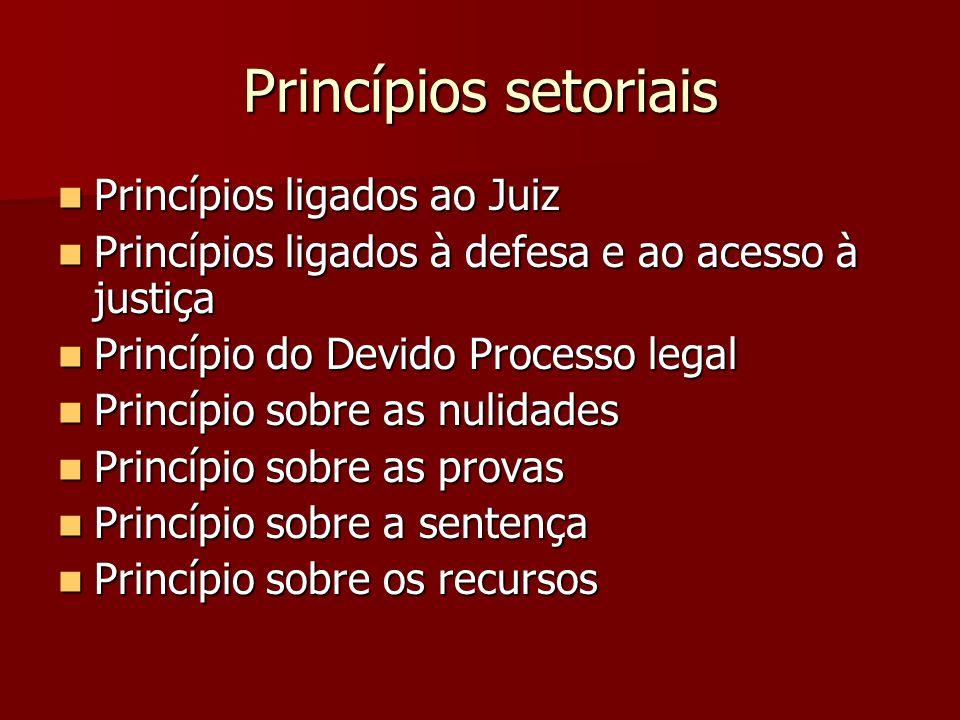 Princípios setoriais Princípios ligados ao Juiz