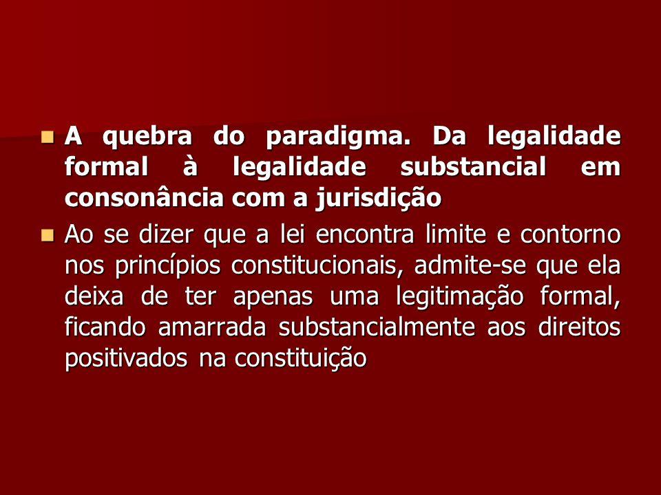 A quebra do paradigma. Da legalidade formal à legalidade substancial em consonância com a jurisdição