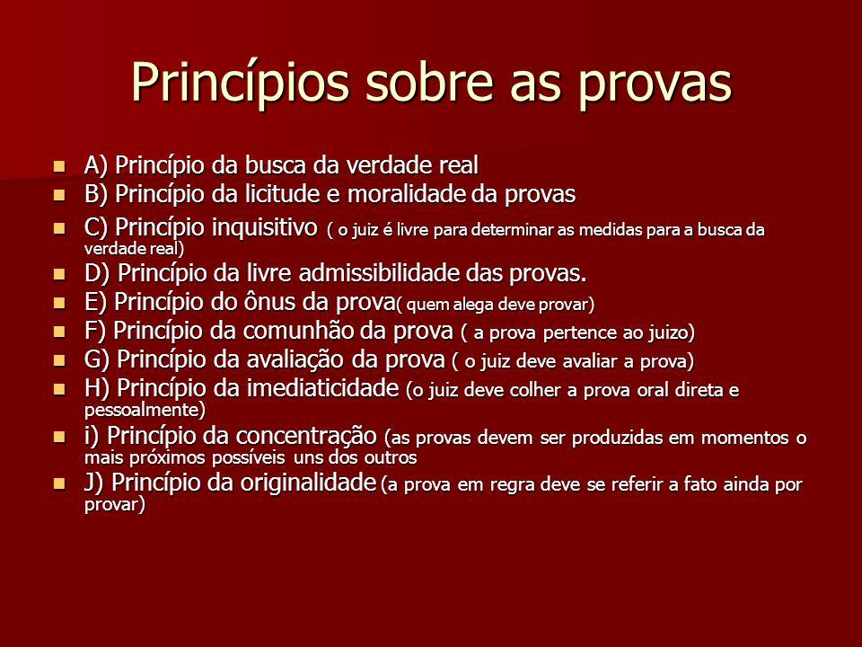 Princípios sobre as provas