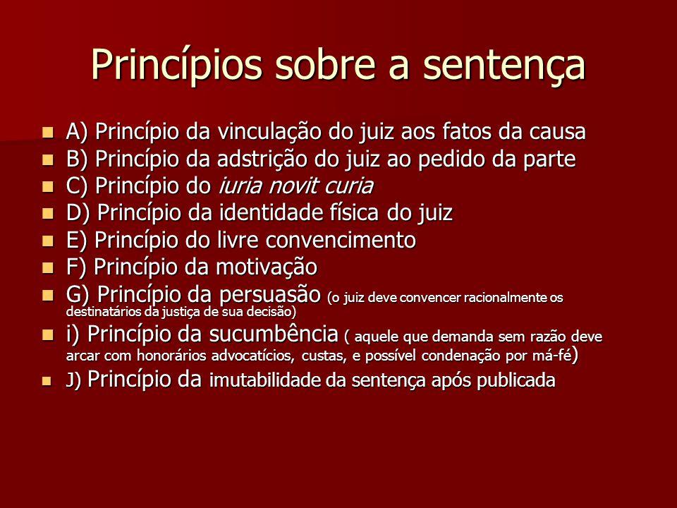 Princípios sobre a sentença