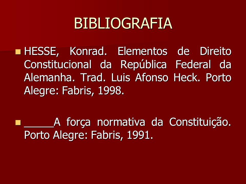 BIBLIOGRAFIA HESSE, Konrad. Elementos de Direito Constitucional da República Federal da Alemanha. Trad. Luis Afonso Heck. Porto Alegre: Fabris, 1998.