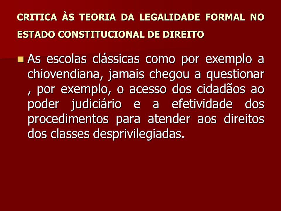 CRITICA ÀS TEORIA DA LEGALIDADE FORMAL NO ESTADO CONSTITUCIONAL DE DIREITO