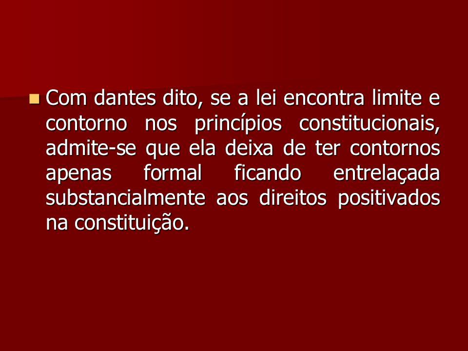 Com dantes dito, se a lei encontra limite e contorno nos princípios constitucionais, admite-se que ela deixa de ter contornos apenas formal ficando entrelaçada substancialmente aos direitos positivados na constituição.