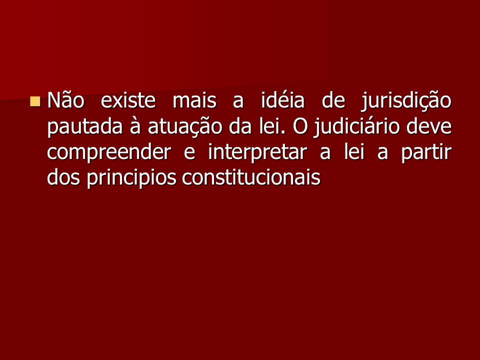 Não existe mais a idéia de jurisdição pautada à atuação da lei