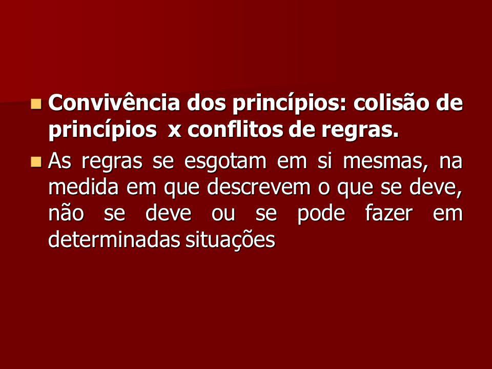 Convivência dos princípios: colisão de princípios x conflitos de regras.