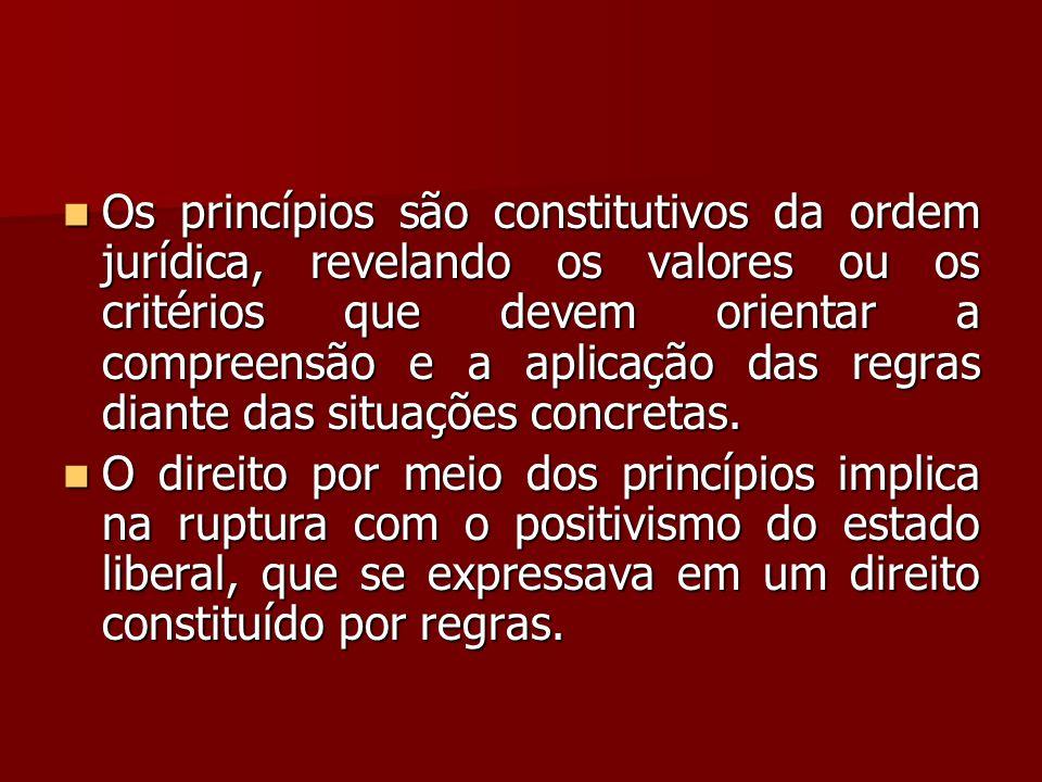 Os princípios são constitutivos da ordem jurídica, revelando os valores ou os critérios que devem orientar a compreensão e a aplicação das regras diante das situações concretas.