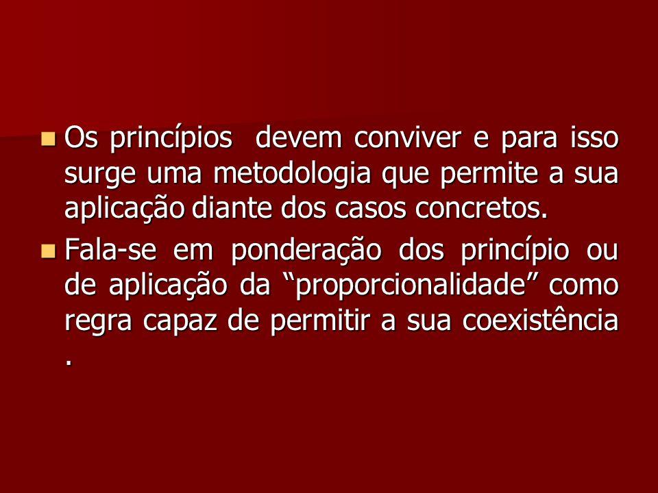 Os princípios devem conviver e para isso surge uma metodologia que permite a sua aplicação diante dos casos concretos.