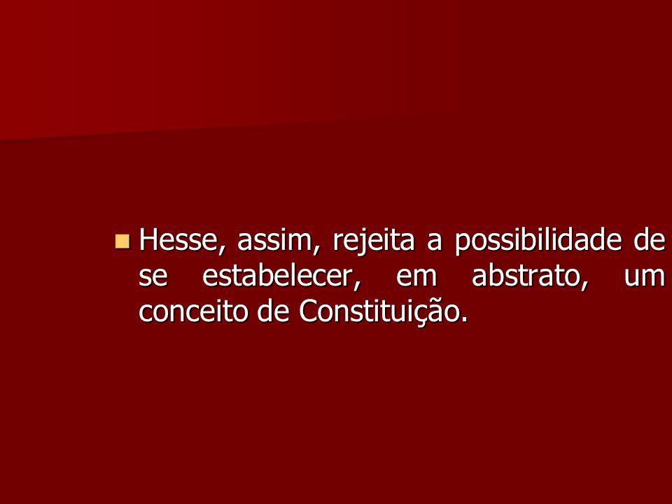 Hesse, assim, rejeita a possibilidade de se estabelecer, em abstrato, um conceito de Constituição.