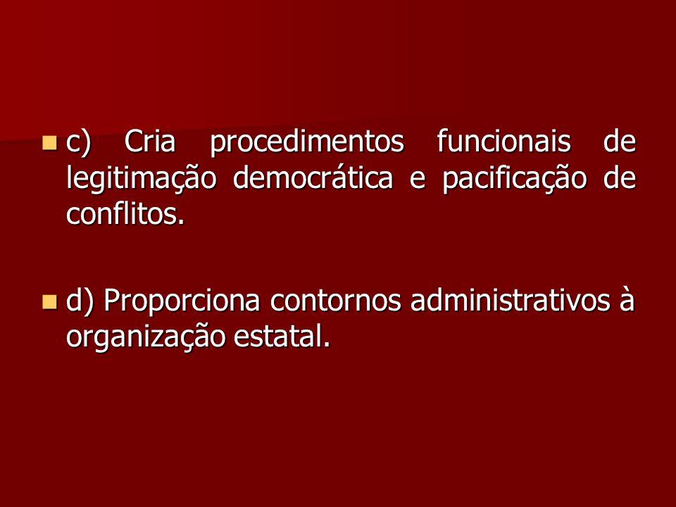 c) Cria procedimentos funcionais de legitimação democrática e pacificação de conflitos.