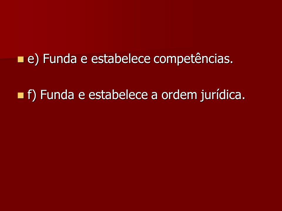 e) Funda e estabelece competências.