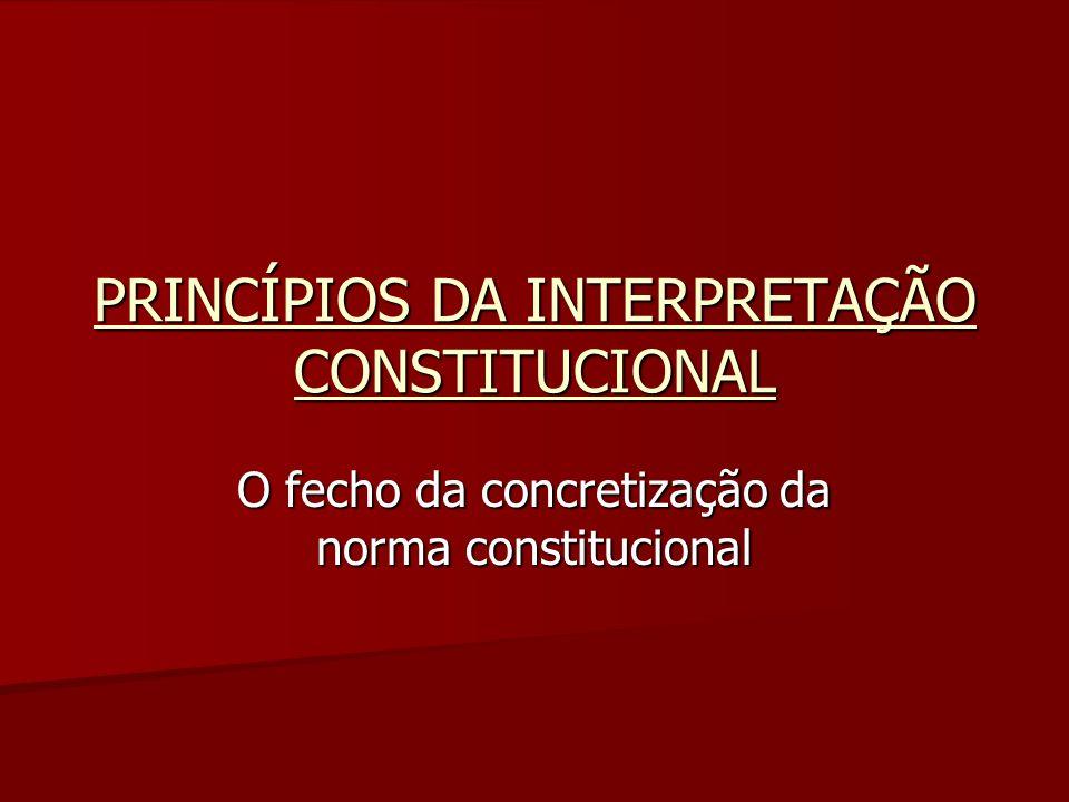 PRINCÍPIOS DA INTERPRETAÇÃO CONSTITUCIONAL