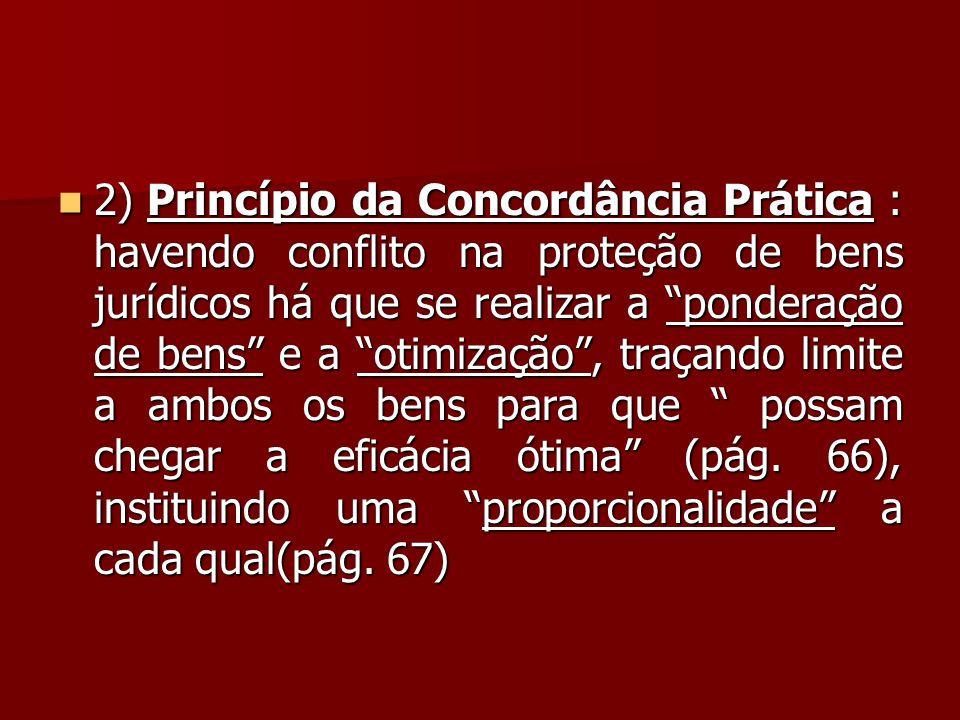 2) Princípio da Concordância Prática : havendo conflito na proteção de bens jurídicos há que se realizar a ponderação de bens e a otimização , traçando limite a ambos os bens para que possam chegar a eficácia ótima (pág.