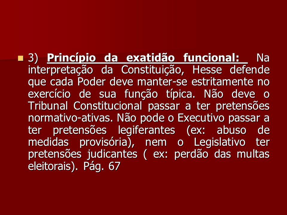 3) Princípio da exatidão funcional: Na interpretação da Constituição, Hesse defende que cada Poder deve manter-se estritamente no exercício de sua função típica.