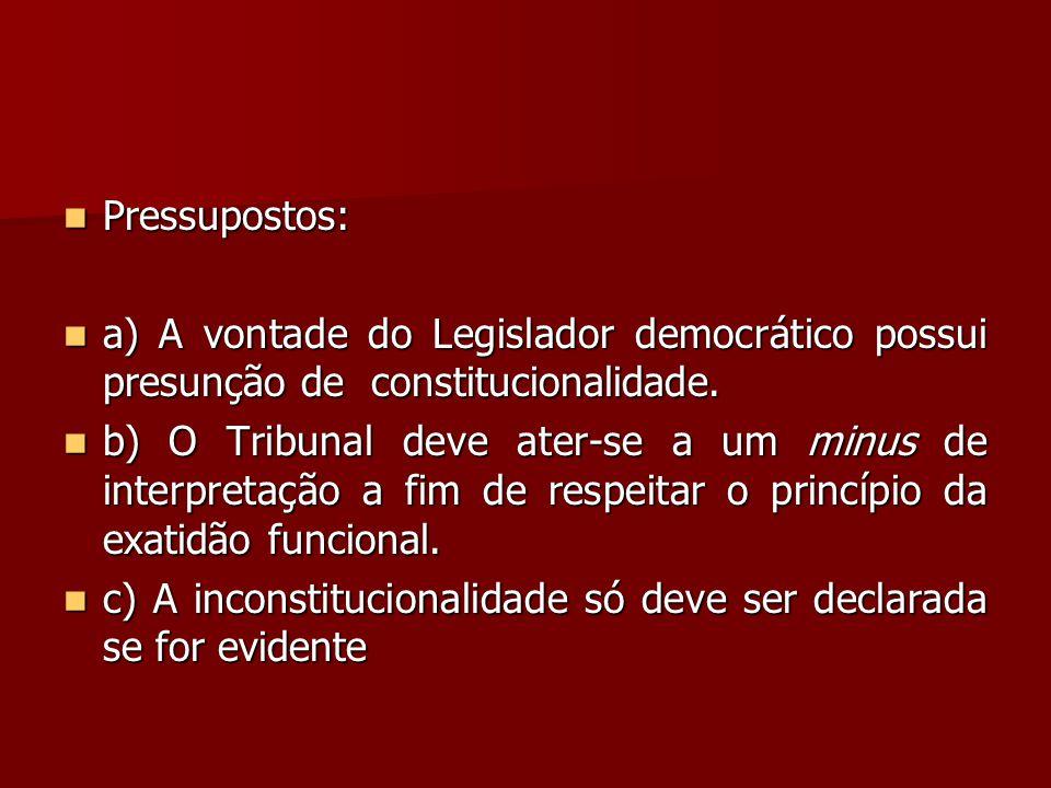 Pressupostos: a) A vontade do Legislador democrático possui presunção de constitucionalidade.