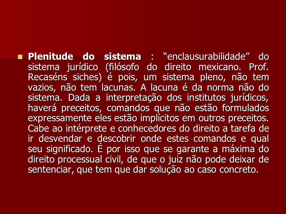 Plenitude do sistema : enclausurabilidade do sistema jurídico (filósofo do direito mexicano.