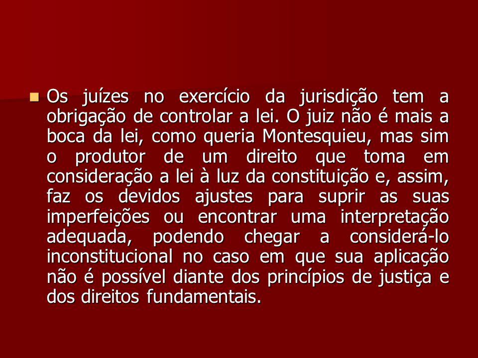 Os juízes no exercício da jurisdição tem a obrigação de controlar a lei.