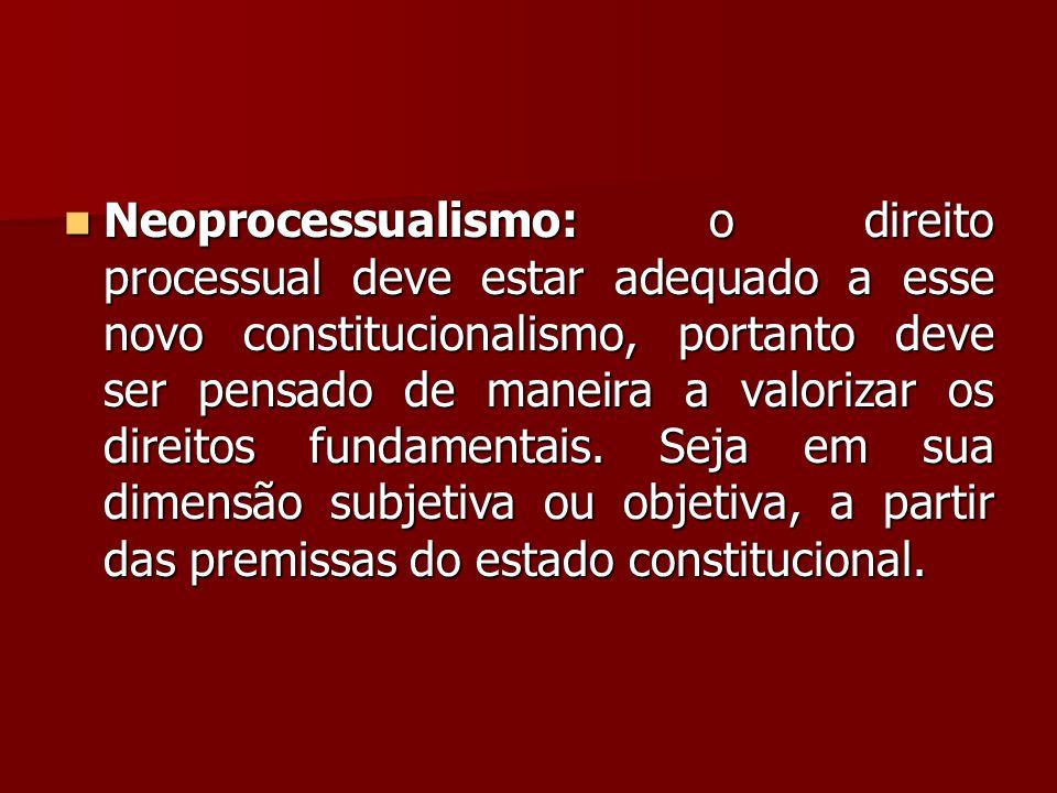 Neoprocessualismo: o direito processual deve estar adequado a esse novo constitucionalismo, portanto deve ser pensado de maneira a valorizar os direitos fundamentais.