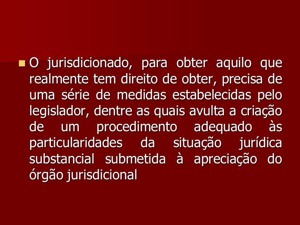 O jurisdicionado, para obter aquilo que realmente tem direito de obter, precisa de uma série de medidas estabelecidas pelo legislador, dentre as quais avulta a criação de um procedimento adequado às particularidades da situação jurídica substancial submetida à apreciação do órgão jurisdicional