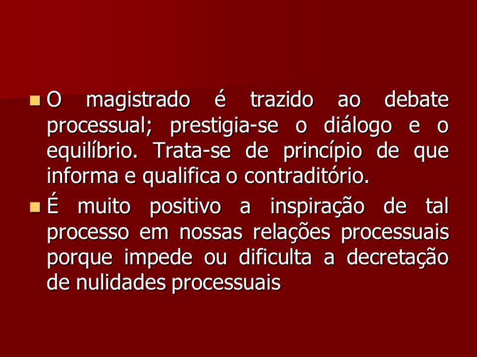 O magistrado é trazido ao debate processual; prestigia-se o diálogo e o equilíbrio. Trata-se de princípio de que informa e qualifica o contraditório.