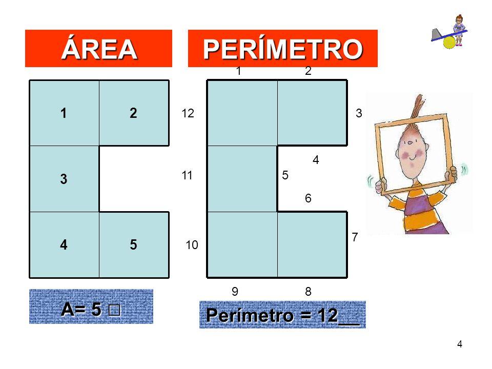 ÁREA PERÍMETRO A= 5 □ Perímetro = 12__ 1 2 3 4 5 1 2 12 3 4 11 5 6 7