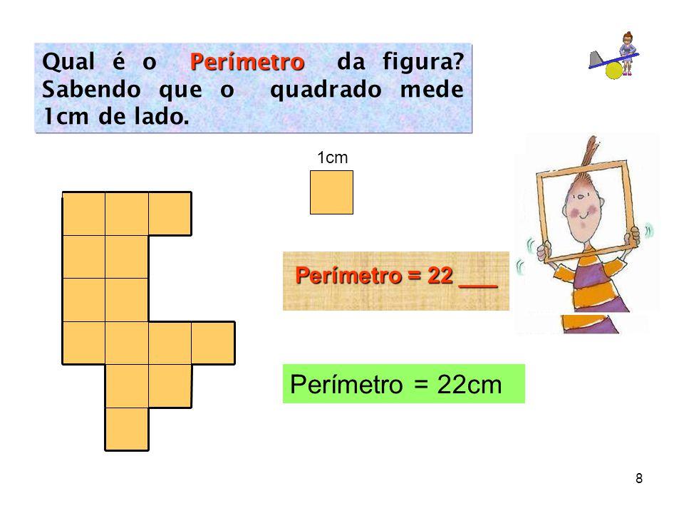 Qual é o Perímetro da figura Sabendo que o quadrado mede 1cm de lado.
