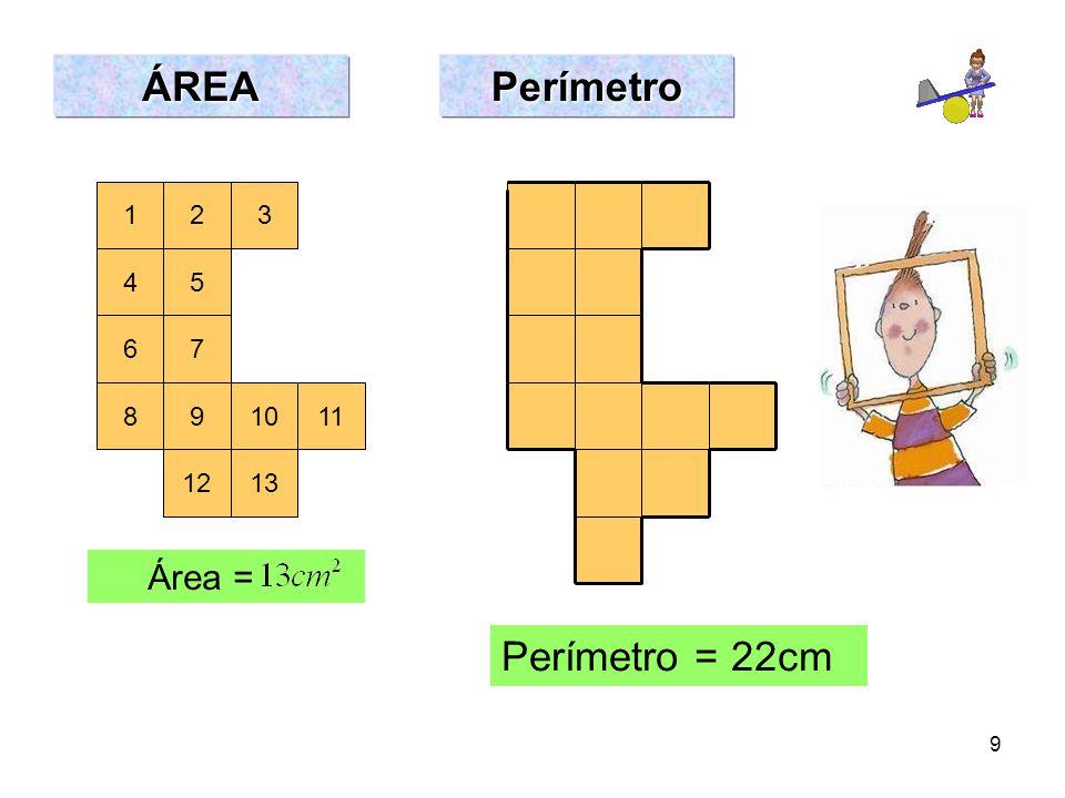 ÁREA Perímetro 1 2 3 4 5 6 7 8 9 10 11 12 13 Área = Perímetro = 22cm