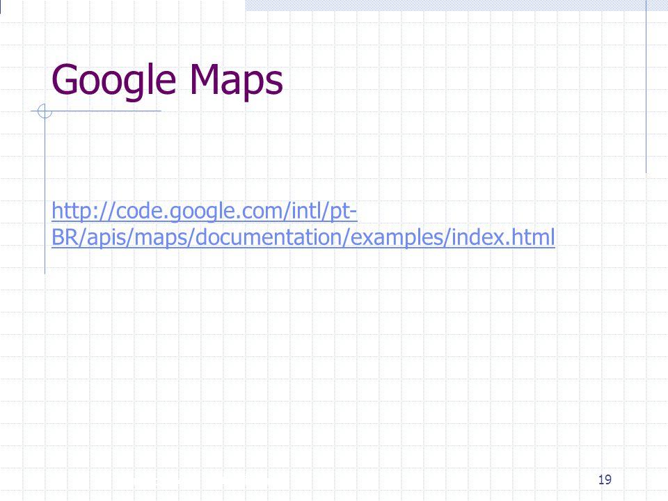 Google Maps http://code.google.com/intl/pt-BR/apis/maps/documentation/examples/index.html