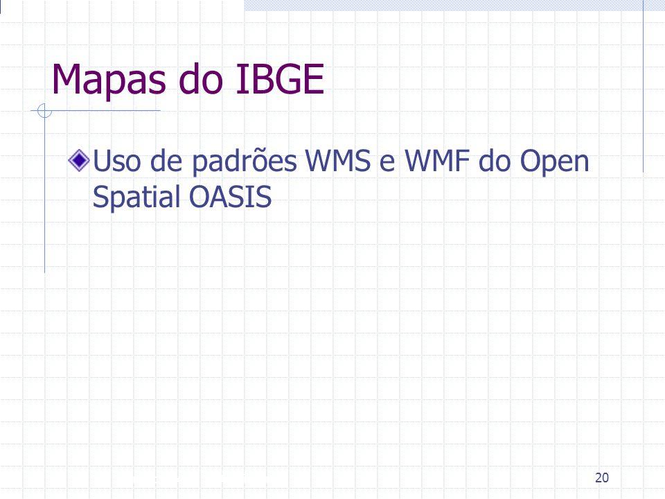 Mapas do IBGE Uso de padrões WMS e WMF do Open Spatial OASIS