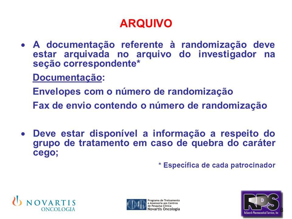 ARQUIVO A documentação referente à randomização deve estar arquivada no arquivo do investigador na seção correspondente*