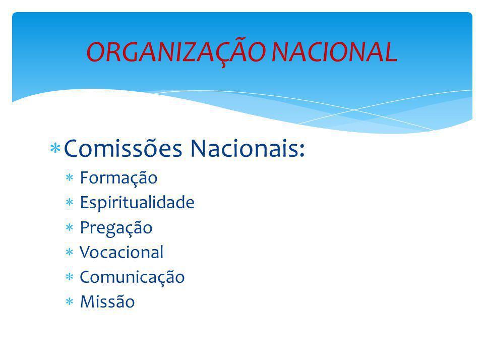 ORGANIZAÇÃO NACIONAL Comissões Nacionais: Formação Espiritualidade