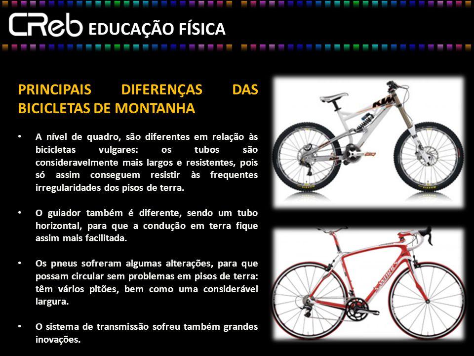PRINCIPAIS DIFERENÇAS DAS BICICLETAS DE MONTANHA
