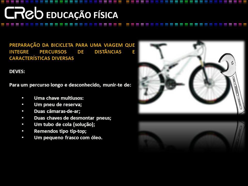 PREPARAÇÃO DA BICICLETA PARA UMA VIAGEM QUE INTEGRE PERCURSOS DE DISTÂNCIAS E CARACTERÍSTICAS DIVERSAS