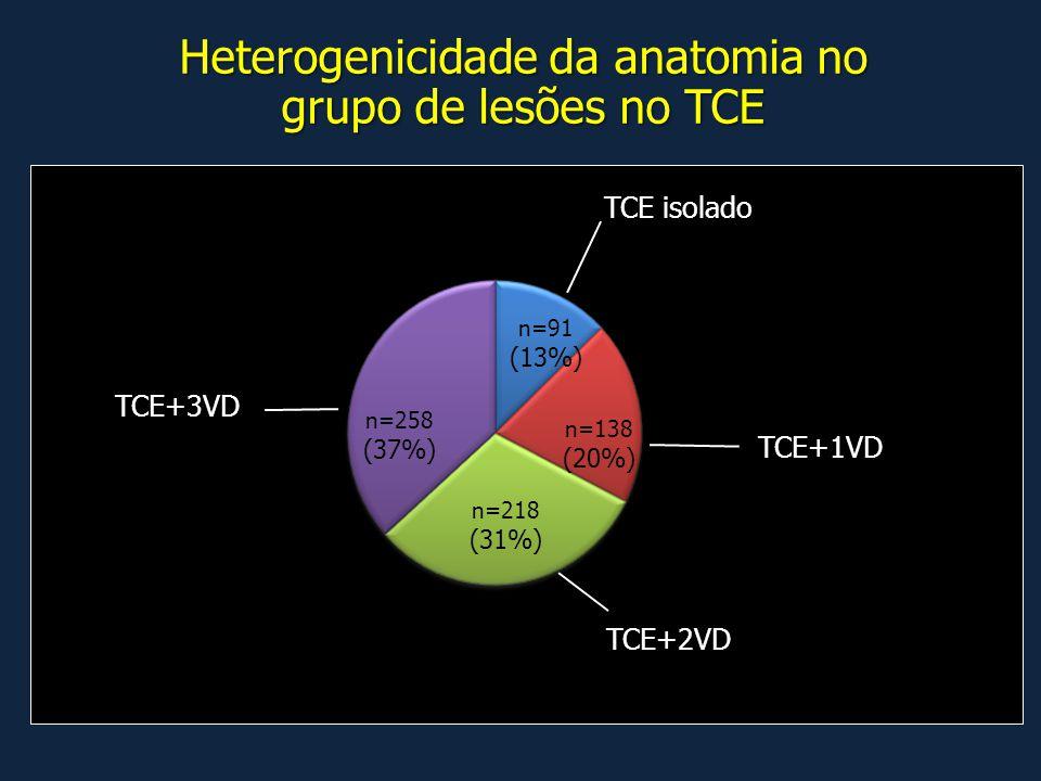 Heterogenicidade da anatomia no grupo de lesões no TCE