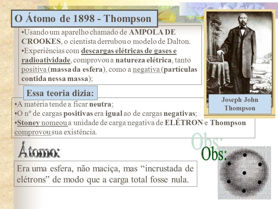 Átomo: Obs: O Átomo de 1898 - Thompson Essa teoria dizia: