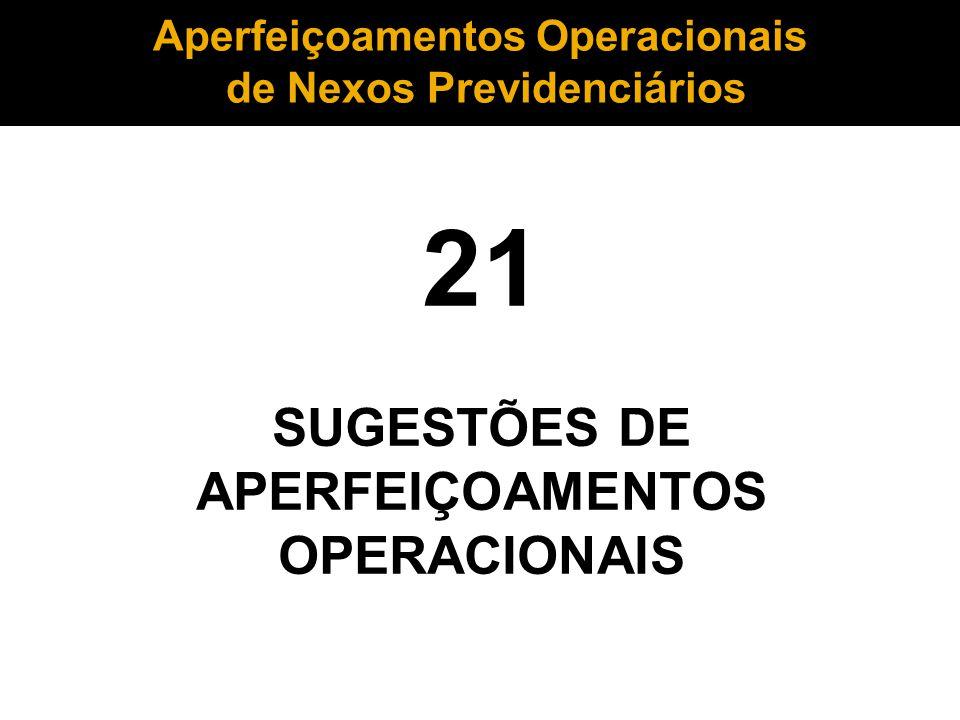 21 SUGESTÕES DE APERFEIÇOAMENTOS OPERACIONAIS