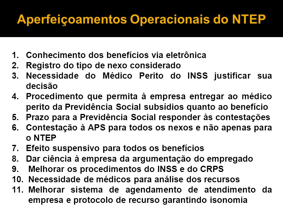 Aperfeiçoamentos Operacionais do NTEP