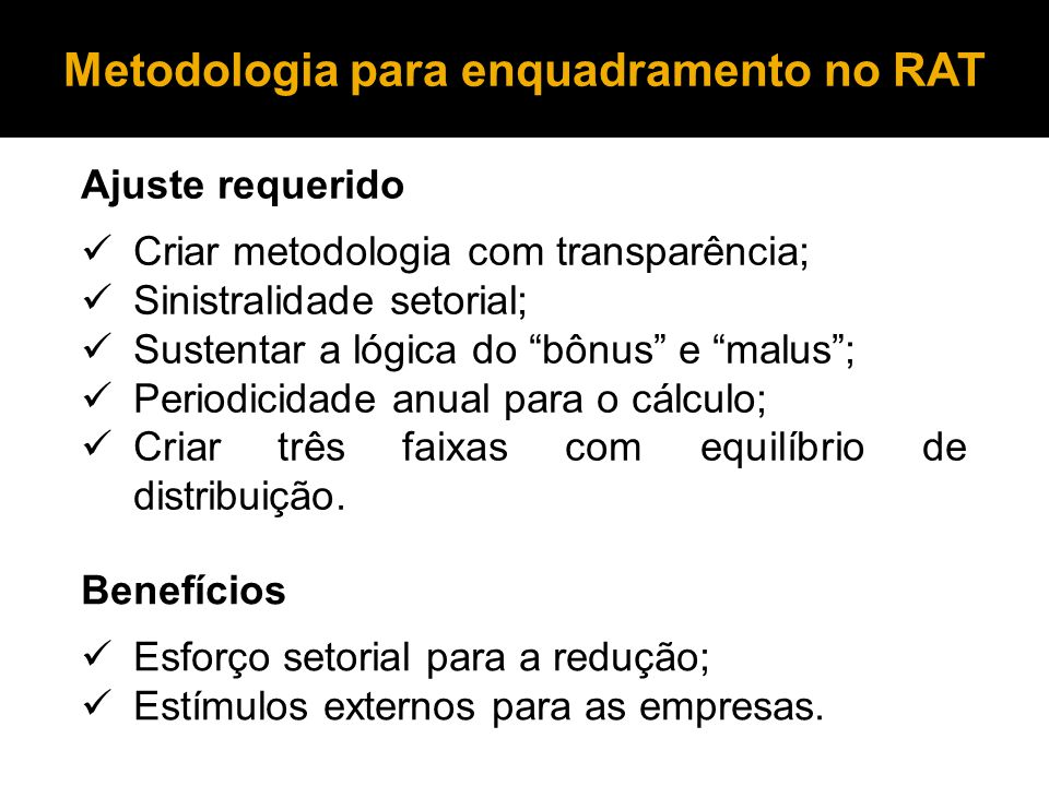 Metodologia para enquadramento no RAT