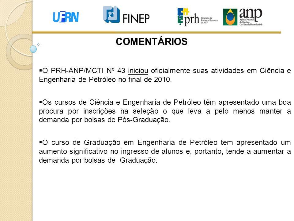 COMENTÁRIOS O PRH-ANP/MCTI Nº 43 iniciou oficialmente suas atividades em Ciência e Engenharia de Petróleo no final de 2010.