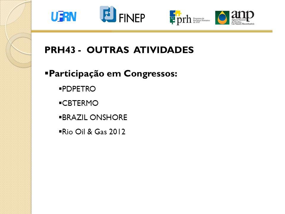 PRH43 - OUTRAS ATIVIDADES Participação em Congressos: